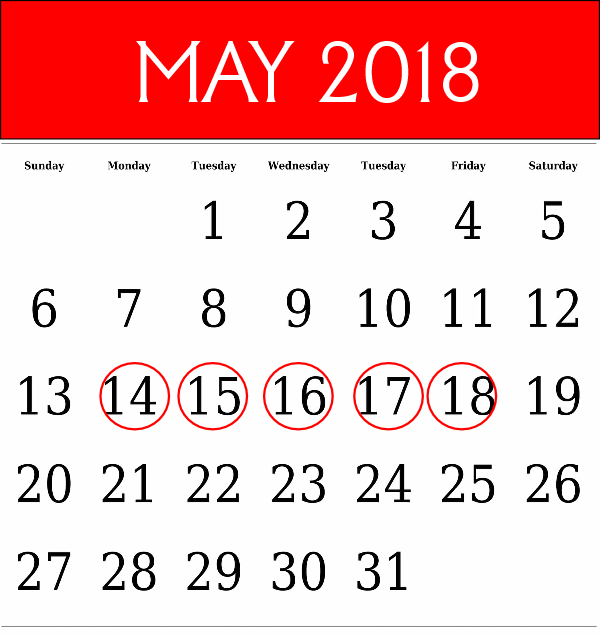 May 2018 Technical Training Dates