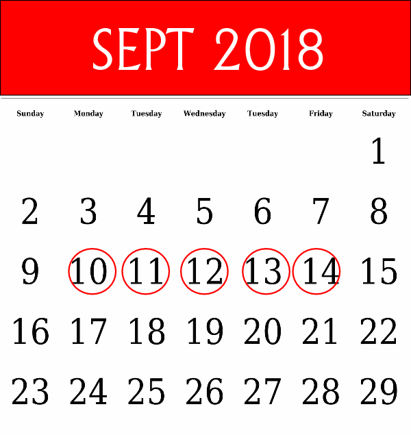 September 2018 Training Dates
