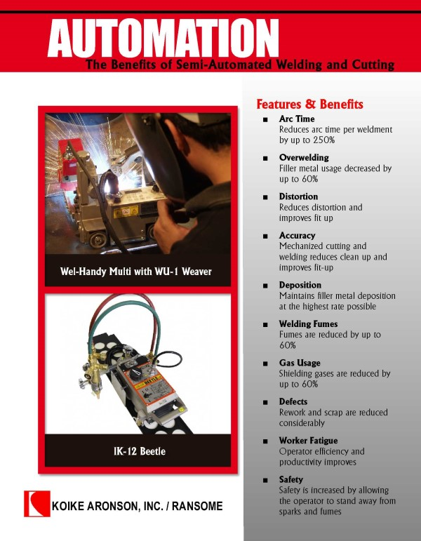 Download Cutting and Welding Automation Product Brochure by Koike Aronson, Inc.