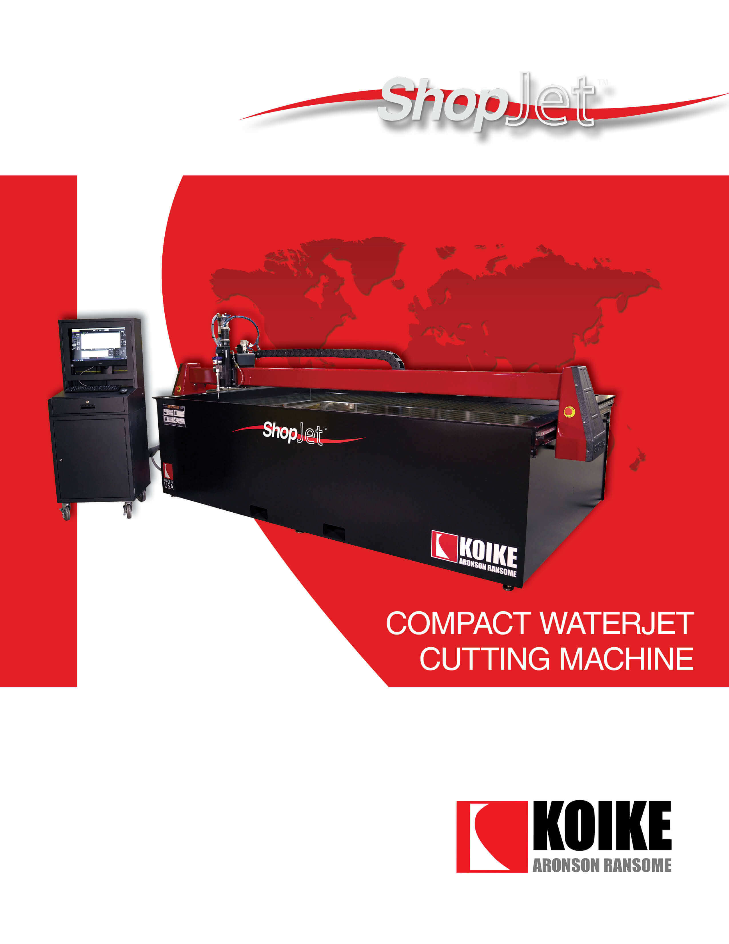 ShopJet, an affordable, compact waterjet cutting system with a solid steel structure and smaller footprint than others in its class