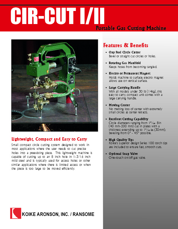 Download Cir-Cut I/II pattern portable cutting machine product brochure