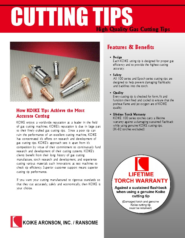 Download Koike Cutting Tips product brochure here