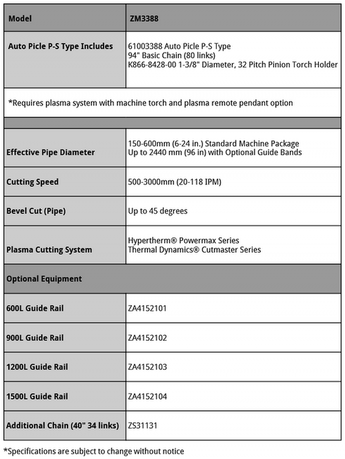Auto Picle-P Specifications