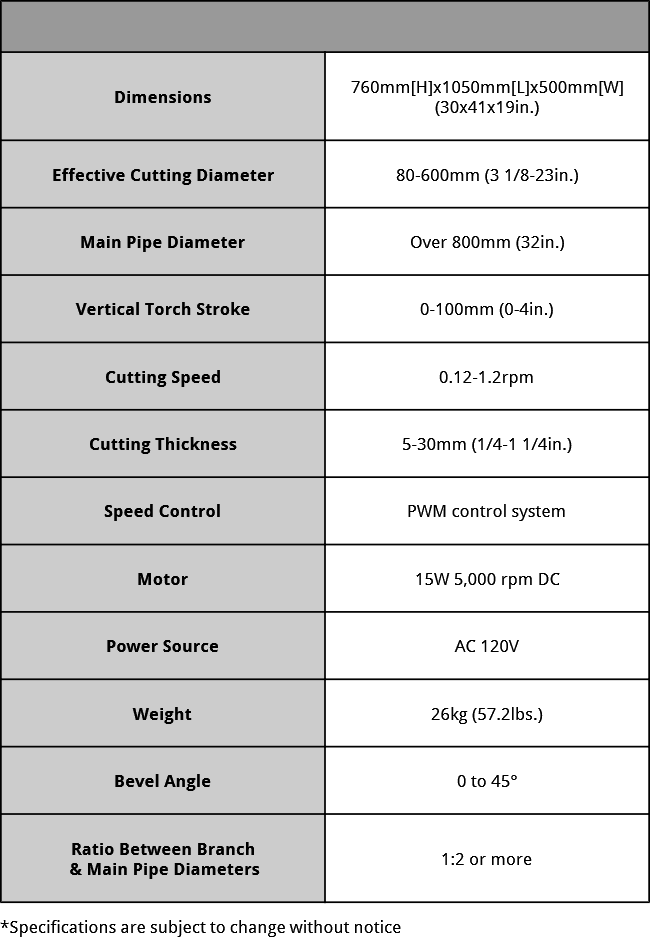 KHC-600D Specifications