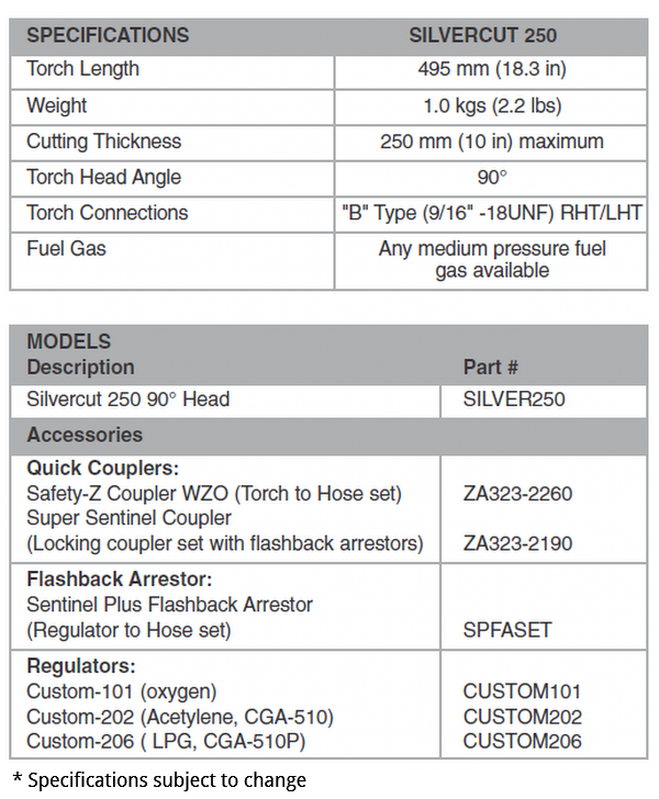 SilverCut 250 Hand Cutting Torch Specifications